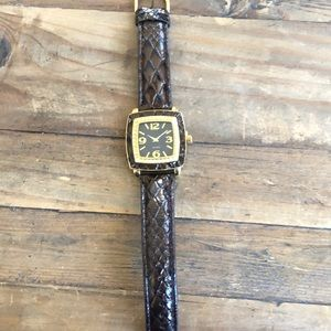 Joan Rivers classics Diamonique and Leather watch
